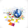 World With Abstract Futuristic Graphic Template For Communicatio Stock Photography - 49091382