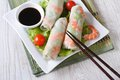 Korean Spring Rolls With Shrimp And Sauce On A Plate Horizontal Stock Images - 49092204
