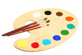 Wooden Art Palette With Paints Isolated On A White Royalty Free Stock Photo - 49104835