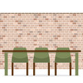 Three Empty Chairs With Long Table On Brick Wall Stock Photo - 49109570