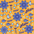 Bright  Floral Seamless Pattern With Cute Birds And Seamless Pat Stock Images - 49112664