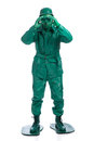 Man On A Green Toy Soldier Costume Royalty Free Stock Image - 49113036