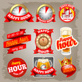 Happy Hour Labels Stock Images - 49115384