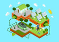 Flat 3d Web Isometric Alternative Eco Green Energy Concept Royalty Free Stock Images - 49118289