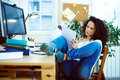 Woman Working At Home Royalty Free Stock Photography - 49124857