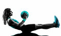 Woman Fitness Medicine Ball Exercises Silhouette Stock Photography - 49125902