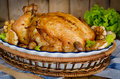 Whole Roasted Chicken Stuffed With Buckwheat And Mushrooms Stock Photography - 49129852