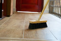 Cleaning Broom On Wooden Floor Royalty Free Stock Photography - 49131637