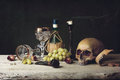 Vanitas With Skull; Pipe, Tobacco, Dice; Wine Glass, Wine And G Stock Image - 49137721