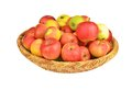 Red Apple In A Wattled Basket Stock Photos - 49138143