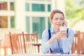 Smiling Woman Talking On Mobile Phone Outside Corporate Office Building Royalty Free Stock Photos - 49149538
