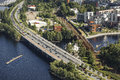 Road And Rail Bridges In The City Of Tampere Royalty Free Stock Photos - 49150938