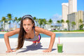 Healthy Lifestyle Girl Exercise And Green Smoothie Stock Images - 49154814
