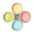 Four Cans Of Paint Isolated Royalty Free Stock Photography - 49165097