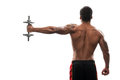 Young African Sportsman Exercising Dumbbell Royalty Free Stock Photography - 49167457