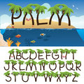 Palm Tree Alphabet With Tropical Background Stock Images - 49175034