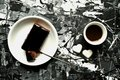 Art And Food : Breakfast With Coffee And Chocolate Cake Stock Photography - 49180812