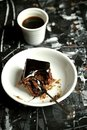 Minimalist , Artistic Breakfast With Coffee And Chocolate Cake Stock Photos - 49181043