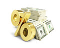 Interest, Gold Dollar Sign, Many Packs Of Dollars Stock Photos - 49181743