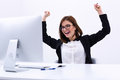 Businesswoman Rejoicing At Her Success Cheering Royalty Free Stock Image - 49182256