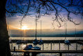 Sunset Over Zurich Lake Stock Photography - 49183492