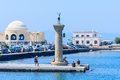 Column With A Statue Of A Deer. Port Of Mandraki. Rhodes Island. Greece Stock Photo - 49184760