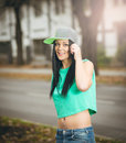 Young Girl Posing With Navel Piercing Stock Photo - 49186510