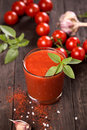 Tomato Juice And Fresh Cherry Tomatoes On Table Stock Photography - 49187622