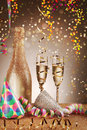 Celebration Concept - Cone Hats And Champagne Wine Stock Photography - 49189232