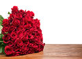 Colorful Flower Bouquet From Red Roses Isolated On Wooden Backgr Royalty Free Stock Photos - 49197348