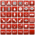 Red Square Web Buttons [4] Royalty Free Stock Photography - 4923787