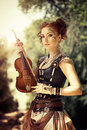 Beautiful Redhair Woman With Body Art On Her Face Holding Violin Stock Photos - 49202283