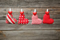 Love Hearts Hanging On Rope On A Grey Wooden Background Royalty Free Stock Image - 49205546