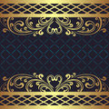 Luxury Dark Blue Background With Golden Floral Borders. Royalty Free Stock Photo - 49223045