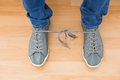 Mans Shoes With Tangled Laces Stock Photos - 49224053