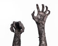 Black Hand Of Death, The Walking Dead, Zombie Theme, Halloween Theme, Zombie Hands, White Background, Mummy Hands Royalty Free Stock Photo - 49232975