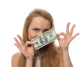 Happy Young Woman Holding Up Cash Money Of One Hundred Dollars I Royalty Free Stock Photography - 49233627