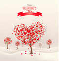 Valentine Background With Heart Shaped Trees. Stock Photography - 49234282