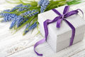 Gift Box With Hyacinth Royalty Free Stock Photo - 49237295
