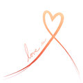Orange Red Heart Ribbon Background Royalty Free Stock Photos - 49246618