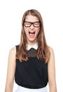Angry Young Teenage Girl Screaming Isolated Royalty Free Stock Image - 49249206