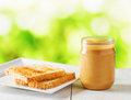 Jar Of Peanut Butter And Toasts On Nature Background Royalty Free Stock Image - 49254086
