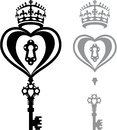Heart And A Key B/W Image Vector Royalty Free Stock Image - 49280826