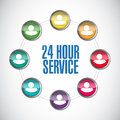 24 Hour Service Support Center Illustration Royalty Free Stock Photography - 49297447