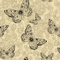 Seamless Floral Pattern With Butterflies, Hand-drawing. Vector I Royalty Free Stock Photo - 49301315