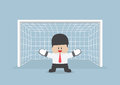 Businessman Playing Goalkeeper Standing In Front Of Goal Ready T Stock Image - 49309391