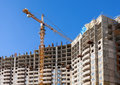 Tall Apartment Buildings Under Construction With Crane Against A Stock Images - 49314654