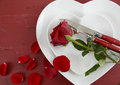 Valentines Day Table Place Setting With Copy Space. Stock Image - 49315851