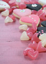 Romantic Heart Shape Pink, White And Black Cookies And Candy Royalty Free Stock Photos - 49316298