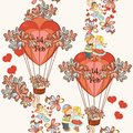 Seamless Wallpaper Pattern With Hearts And Air Balloons Stock Photo - 49325440